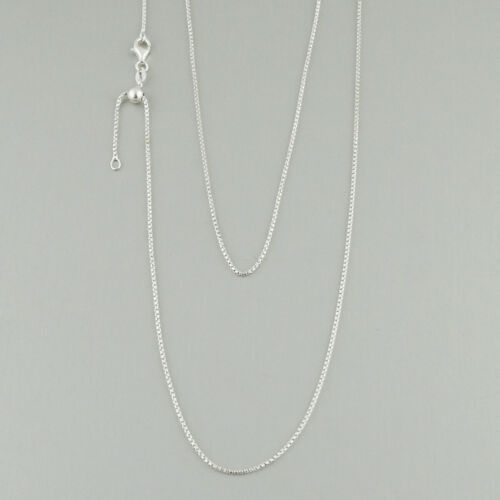 """Adjusts up to 24/"""" 925 Sterling Silver Details about  /1.25mm Half Round Box Chain Necklace"""