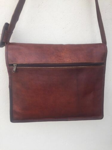 Leather bag Vintage Messenger Shoulder Men Satchel S Laptop School Briefcase Bag