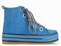 Shumaxx Womens Shoes Studded Trim Lace Up Trainers Blue Uk Size 5 6 Eu 38 39