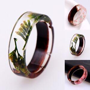 Harz-Ring-Holz-Natur-Blume-Pflanzen-Ring-Handgefertigte-Ring-Jubilaeumsge-Schmuck