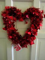 Valentine Heart Shaped Beautiful Red Wreath 13 Diameter Door Decor Brand