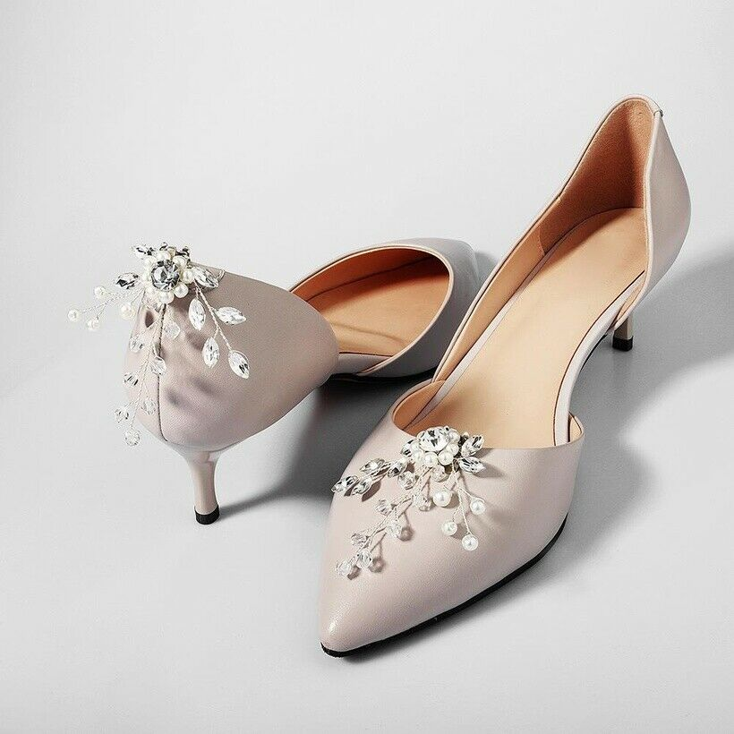 1 Pair rhinestone pearl shoe clips wedding party shoes charm decoration - BNIP
