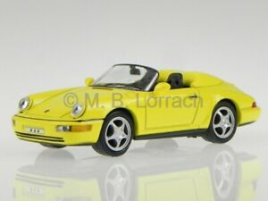 Porsche-911-964-Speedster-1992-yellow-diecast-model-car-KDW-1-43