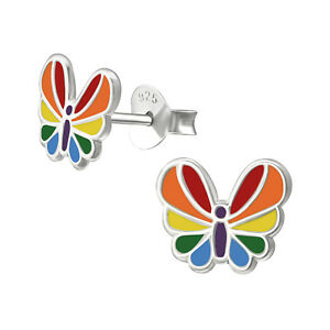 1fe1a36ad Image is loading Melchior-Jewellery-Childrens-Sterling-Silver -Colourful-Butterfly-Stud-