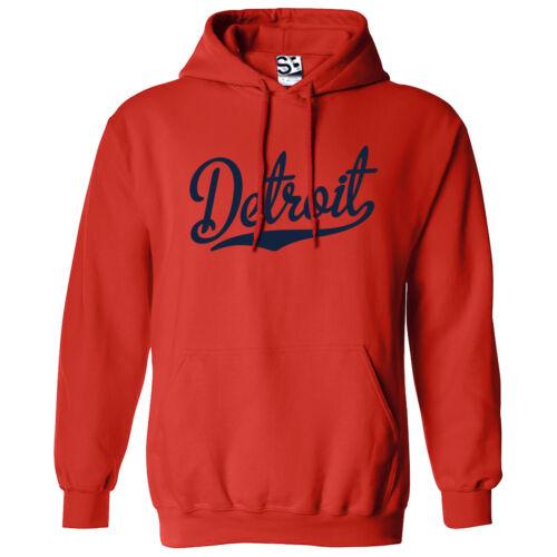 Detroit Script /& Tail HOODIE Hooded Sweatshirt All Sizes /& Colors