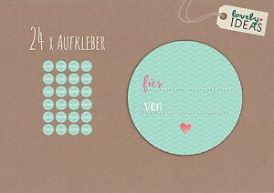 24-x-Geschenkaufkleber-034-Fuer-von-034-40mm-tuerkis-Etiketten-Aufkleber-Sticker