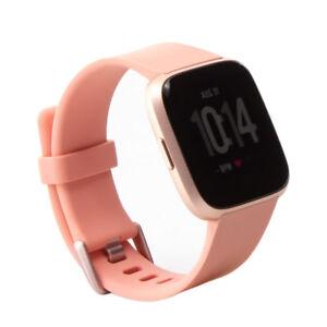 Details about Fitbit Versa Smartwatch, Peach/Rose Gold Aluminium, Black  Band Bundle
