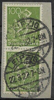 167 Im Senkrechten Paar Gestempelt In Leipzig Am 22.3.22 Mit Dem Besten Service Deutschland Arbeiter Minr 1919-1923