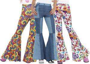 Mujer-1960s-1970s-Hippy-Kickers-Acampanados-Disfraz-Pantalones