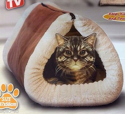 Cat kitty 2 in 1 Tunnel Cave And Self Heating Bed Mat  87cm x 52cm New