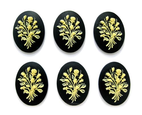 6 IVORY color ROSES BOUQUET SPRAY on BLACK 40mm x 30mm Costume Jewelry CAMEOS