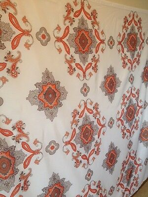 Paisley white and orange Fabric Shower Curtain