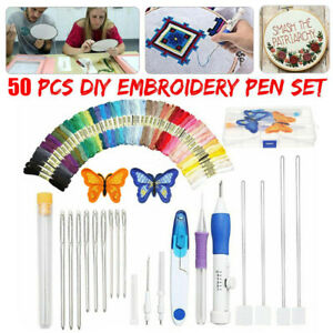 Magic-DIY-Embroidery-Pen-Knitting-Sewing-Tool-Kit-Punch-Needle-50-Threads-Set
