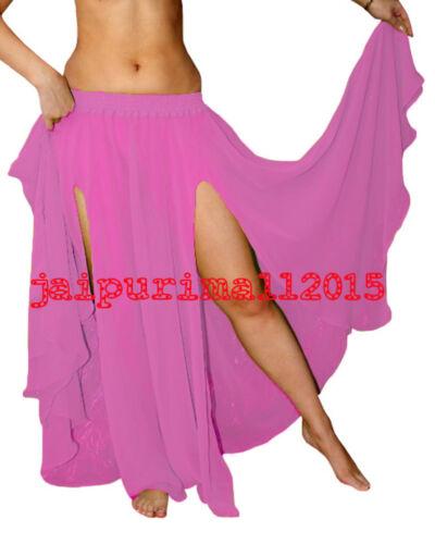 Chiffon 2 Slit Full Circle Skirts Belly Dance Gypsy Club Tribal Costume S~3XL