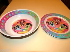 NEW SET OF 2 POWERPUFF GIRLS PLATE AND BOWL MELAMINE PARTY SUPPLIES DECORATIONS