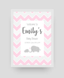 Personalised Baby Shower Welcome Sign A4