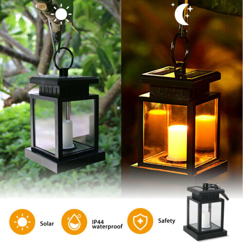 Waterproof Solar Lantern Hanging Light Led Candle Yard Patio Garden Lamp US