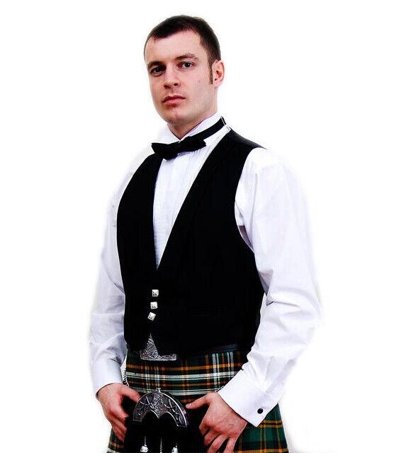 Black Prince Charlie Kilt Vest Waistcoat only 100% Wool