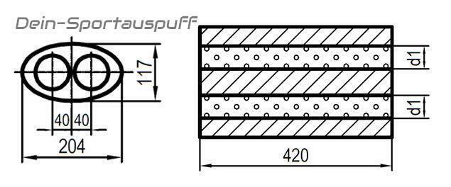420mm In//Out 2x45//2x45mm Universal Auspuff Edelstahl OVAL 204x117mm 2-Rohr  L