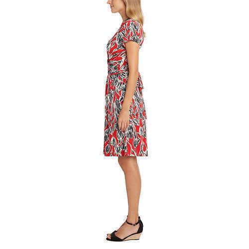 Matty M Ladies Women/'s Faux Wrap Dress Short Sleeve VARIETY Size/&Color C21 C22