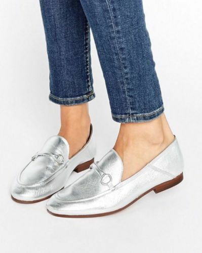 NEW Anthropologie H by Hudson London Arianna Silver Leather Loafers Size 37 6.5