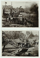 RARE Photo LOT of 2 - Road Construction Lindsay CA 1920s California Industrial