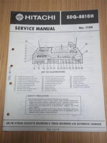Hitachi Service Manual~SDQ-8810H Stereo//Receiver//8-Track Music System~Original