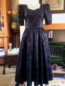5e06fa9f1ac31 Details about Vintage 1980s Laura Ashley Dress Black Grey Jacquard Goth  Steampunk Size 10/12
