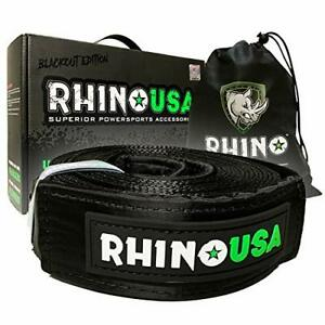 Triple Reinforced Loop End to Ensure Peace of Mind Heavy Duty Draw String Bag Included Lab Tested 31,518lb Break Strength Rhino USA Combo Recovery Tow Strap 20ft /& Shackle Hitch Receiver