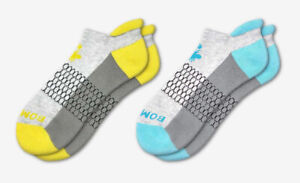 4-Pack Bombas Men/'s Ankle Socks ~Blue-Yellow-Gray~ Honeycomb Size Medium NWT
