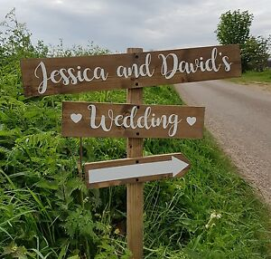 Personalised rustic wedding sign direction arrow wedding sign image is loading personalised rustic wedding sign direction arrow wedding sign junglespirit Choice Image