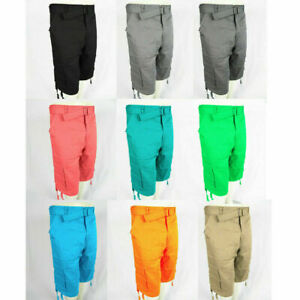 Mens-CARGO-SHORTS-BELT-Leg-Ties-Casual-100-Cotton-32-34-36-38-40-42-44-46-48