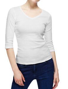 M-amp-S-Para-Mujeres-Algodon-Manga-3-4-Cuello-en-V-Rosa-Blanco-Negro-Verde-camiseta-Prenda-para-el