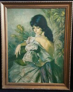 Peinture-a-l-039-huile-HST-la-gitane-au-ble-d-039-or-francisco-Ribera-tableau