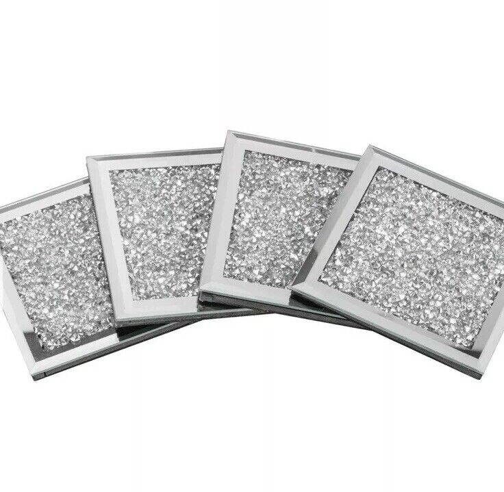 Set Of 4 Square Silver Mirrored Crushed Crystal Coasters Sparkle GIFT Drinks New