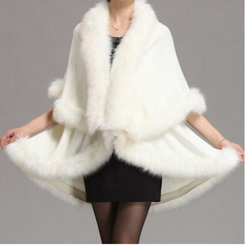 Faux Fox Cashmere Wedding Winter Long Fur Coat Shawl Cape, White