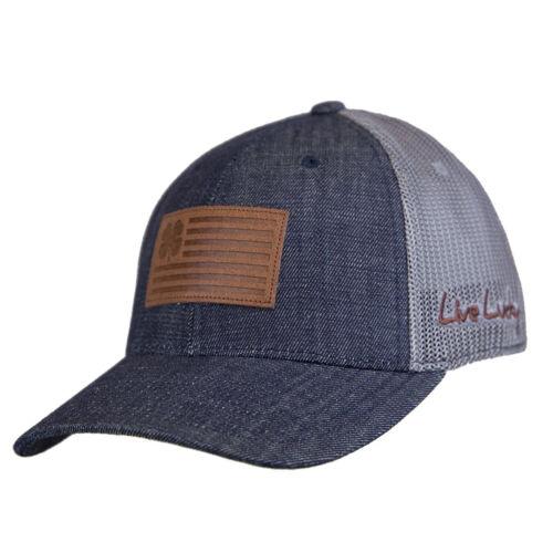 Navy//Charcoal Black Clover Leather Clover Nation Adjustable Hat