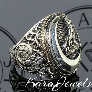 925 sterling silver s ring with howling wolf at the
