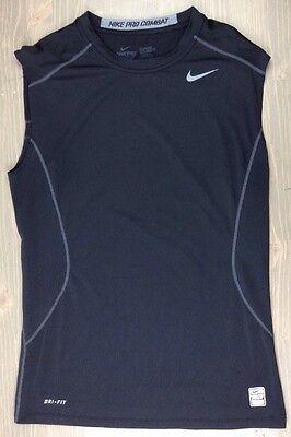 Nike Pro Combat Core 2.0 T Shirt Medium Mens Dri Fit Fitted Sleeveless Top Black