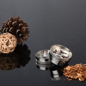 2 Layers Metal Zinc Alloy Silver Tobacco Herb Grinder Hand Muller Smoke Crusher