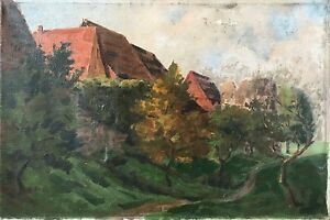 Evening-at-the-Edge-of-Village-German-School-Monogrammed-Oil-Painting-um