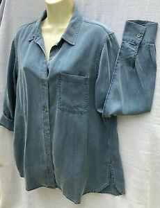 Old Navy Women's Sz L Button Up Shirt  Long Sleeve Tencel Washed Denim Blue