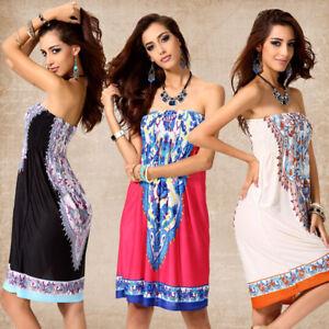 Hot-Womens-Summer-Boho-Sundress-Strapless-Mini-Dress-Casual-Floral-Bandeau-Beach