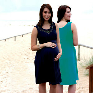 69dd9437eea Image is loading NEW-Maternity-Dress-Breastfeeding-Dress-Summer-Nursing -Office-
