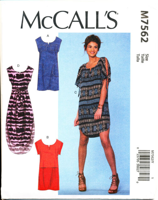 MCCALL/'S SEWING PATTERN 7562 MISSES 4-14 NOTCHED DRESS /& TUNIC W// COLD SHOULDER