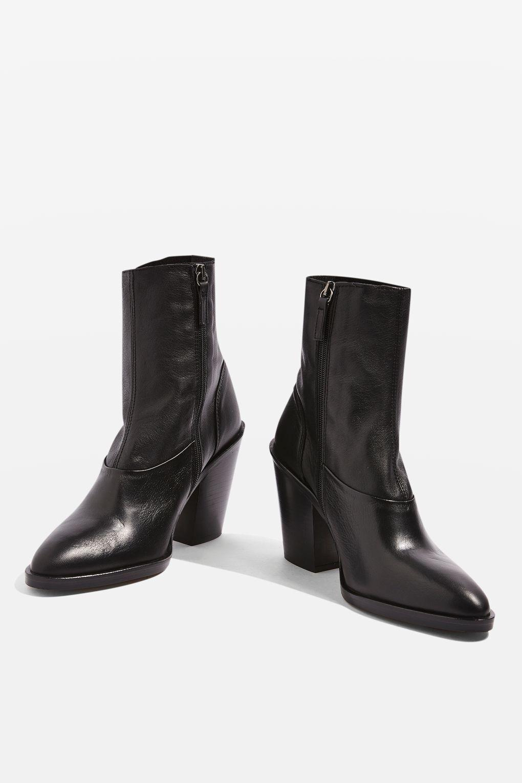 New TOPSHOP sock 'may' schwarz Leder ankle sock TOPSHOP Stiefel uk 5 eu 38 us 7.5 5830a0