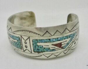 7e05a43f6c3 Image is loading Signed-J-Nezzie-Navajo-Sterling-Silver-Mosaic-Turquoise-