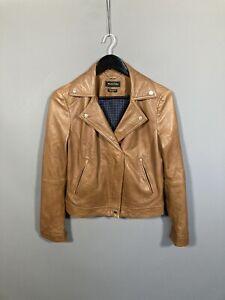 Massimo Dutti Leder Biker Jacke-Größe M-braun-super Zustand-Damen
