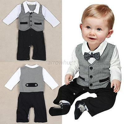 Gentleman Formal Baby Boy Suit Romper #G Pants One-piece Jumpsuit Clothes 0-18M