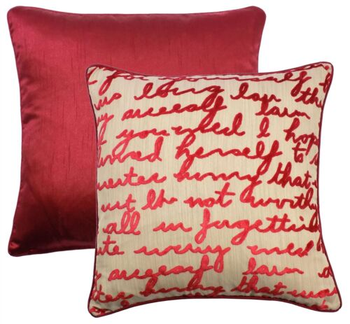 """HANDWRITTEN STYLE SCRIPT RED BEIGE PIPED CUSHION COVER 17/"""" 43CM"""